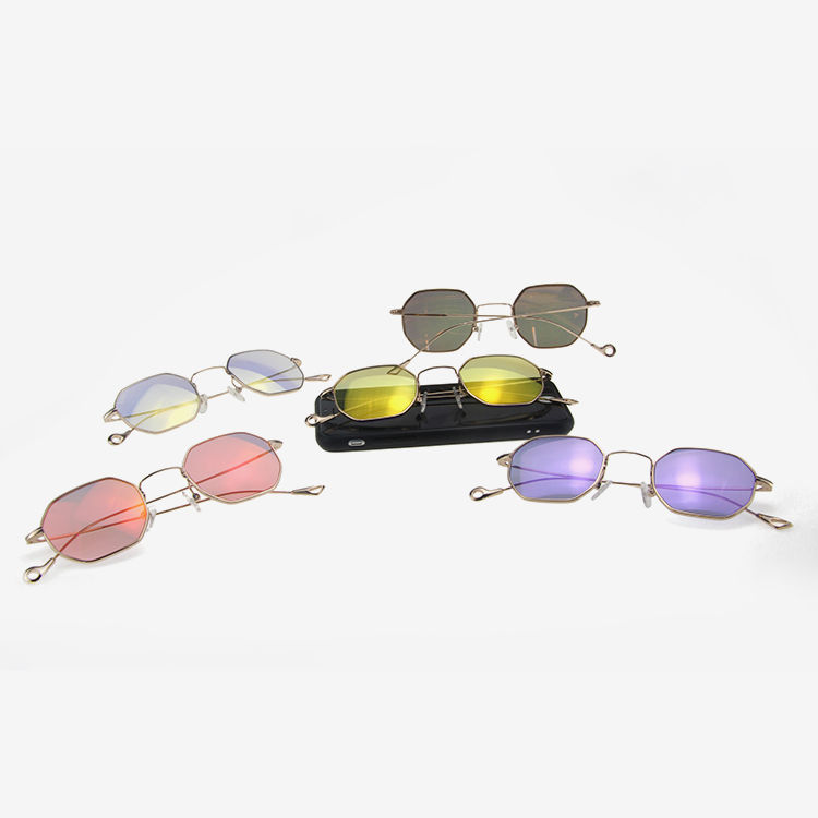 Light Weight Colorful Metal Square Sunglasses