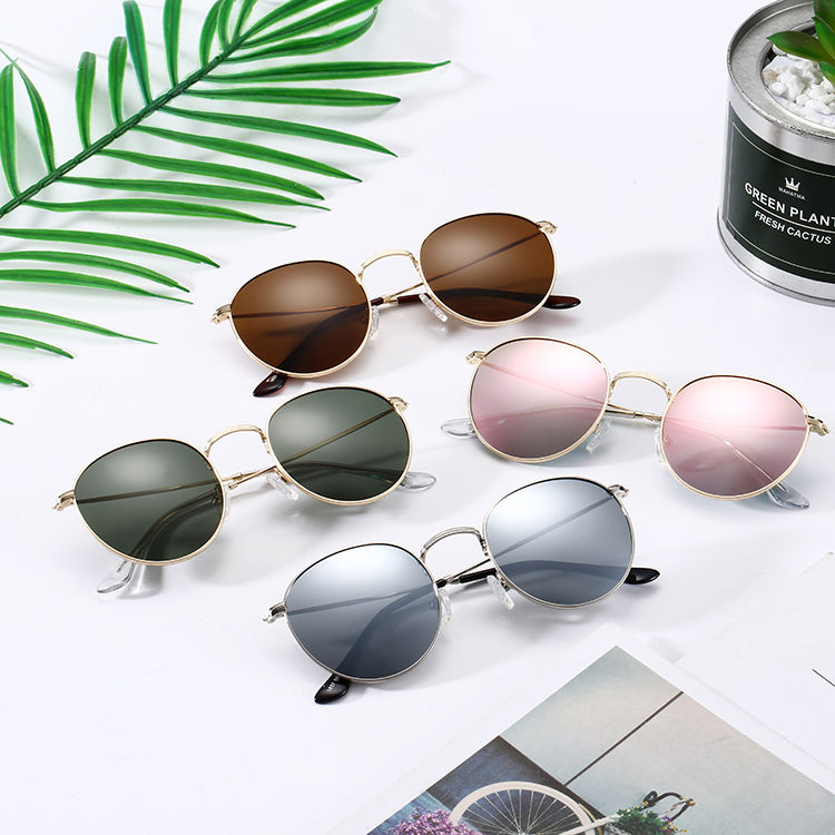 Eugenia sunglasses round metal free sample large capacity
