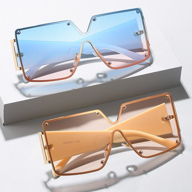EUGENIA 2021 Hot Sales High Quality Women Oversize Sun glasses Custom Logo Fashion Square One Piece Lens Big Frame SunGlasses