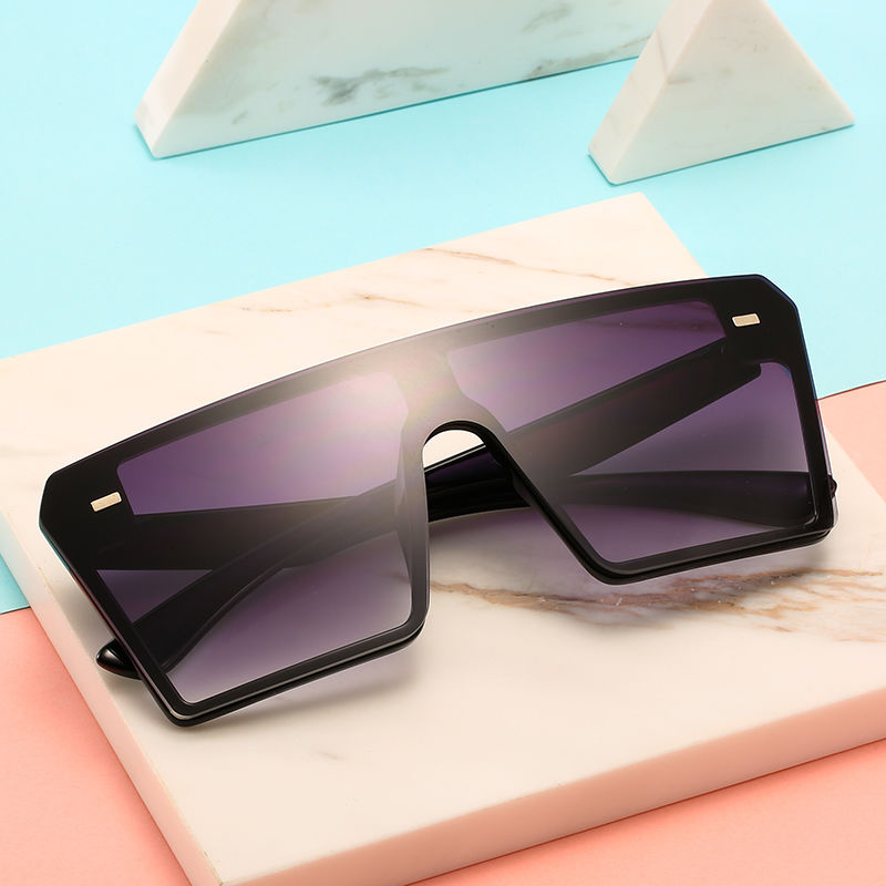EUGENIA Flat Top Lens Shades 2021 Vintage One Piece Lens Hot selling Female Square Women Oversized High Quality Sunglasses