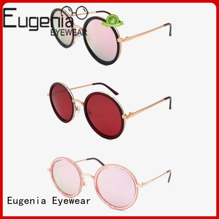 Eugenia stainless steel round frame sunglasses customized best factory price