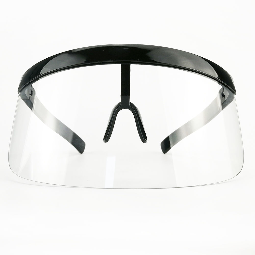 EUGENIA Futuristic Women Big Frame Flat Top Eye Visor Shield Mirrored Mono Lens Square Visor Oversized Sunglasses